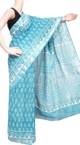 Cotton Linen Saree with silver zari border - 47046A