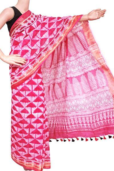 Cotton Linen Saree with silver zari border (Pink) - 47073A, Sarees - Swadeshi Boutique