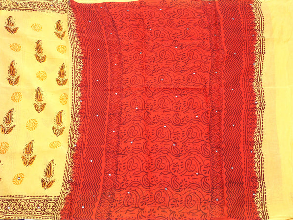 Pure Soft Cotton saree with mirror work in pallu - 48003A, Sarees - Swadeshi Boutique