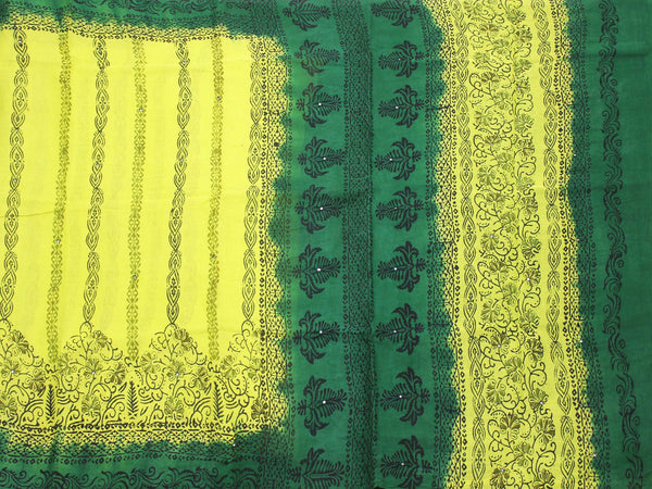 Pure Soft Cotton saree with mirror work in pallu - Yellow (48005A), Sarees - Swadeshi Boutique