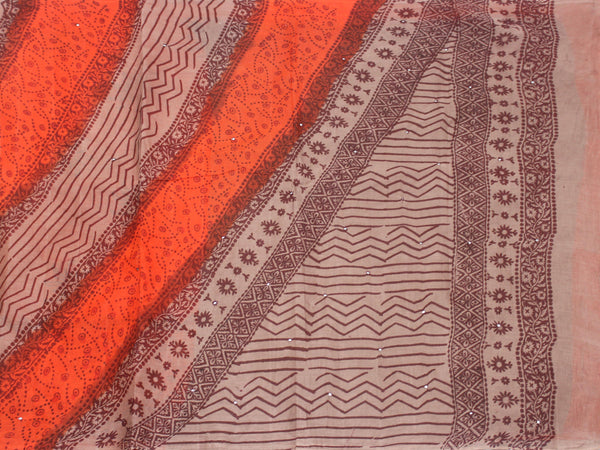 Pure Soft Cotton saree with mirror work in pallu - 48012A, Sarees - Swadeshi Boutique