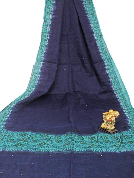 Soft Cotton saree with beautiful mirror work in pallu - 48033A - Swadeshi Boutique