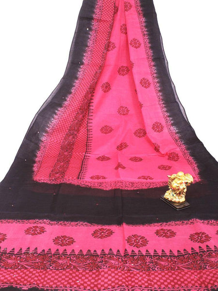 Soft Cotton saree with beautiful mirror work in pallu - 48036A - Swadeshi Boutique