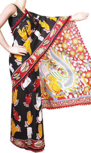 * New arrival * Kalamkari dyed saree with Hand mudhra in Body & pom pom lace attached[Black]  - cotton (49001A)