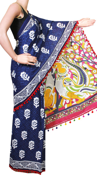 Kalamkari dyed saree with anna patchi in pallu & pom pom lace attached[Blue] - cotton (49002B)