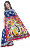 Kalamkari dyed saree with anna patchi in pallu & pom pom lace attached[Blue] - cotton (49002A), Sarees - Swadeshi Boutique