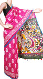 Batik Cotton Saree With Blouse Piece & Stitched Side Colorful Pompom Lace- cotton (49005D) - Swadeshi Boutique
