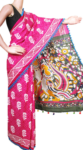 Batik Cotton Saree With Blouse Piece & Stitched Side Colorful Pompom Lace- cotton (49005D), Sarees - Swadeshi Boutique