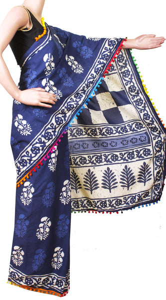 * New arrival * Kalamkari dyed saree with pom pom lace attached With Kalamkari Blouse  - cotton (49006B)