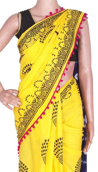Batik Cotton saree with Trees in Body & pom pom lace attached[Yellow]  - cotton (49008A), Sarees - Swadeshi Boutique