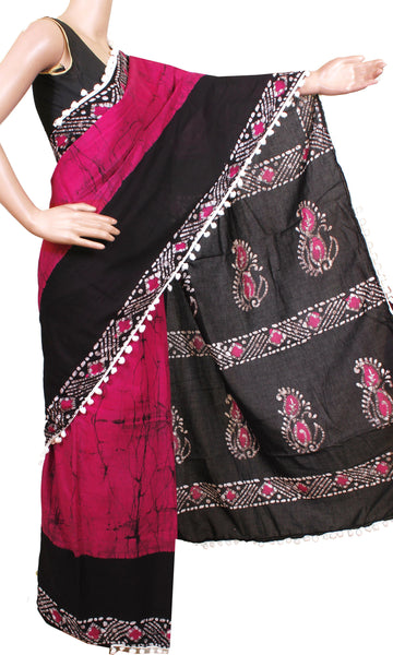 * New arrival * Kalamkari dyed saree with pom pom lace attached with Kalamkari Blouse[Pink]  - cotton (49011B)