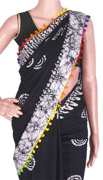 Batik Cotton Saree With Blouse Piece & Stitched Side Colorful Pompom Lace[Black]  - cotton (49012A) - Swadeshi Boutique