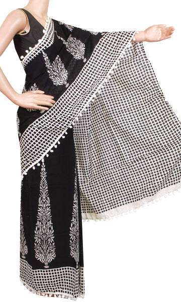 Kalamkari dyed saree with pom pom lace attached[Black]  - cotton (49013A)  * New arrival *, Sarees - Swadeshi Boutique