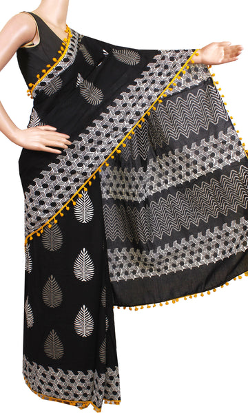 * New arrival * Kalamkari dyed saree with pom pom lace attached[Black]  - cotton (49014A)