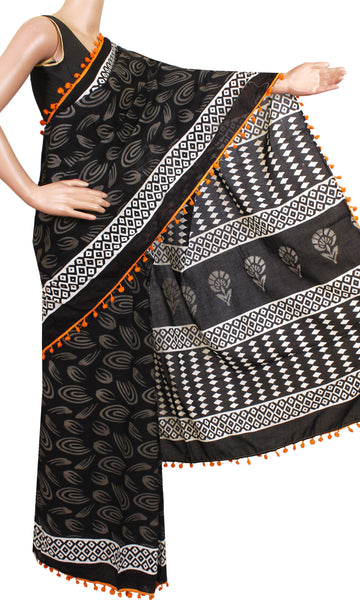 * New arrival Rs.100 Off * Kalamkari dyed saree with pom pom lace attached[Black]  - cotton (49015A)