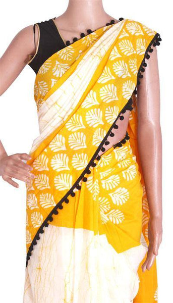 Batik Cotton Saree With Blouse Piece & Stitched Side Colorful Pompom Lace[Yellow]  - cotton (49016A), Sarees - Swadeshi Boutique