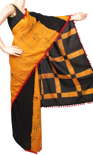* New arrival * Kalamkari dyed saree with pom pom lace attached  - cotton (49017B)