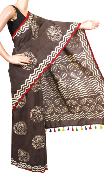 * New arrival * Kalamkari dyed saree with pom pom lace attached With Kalamkari Blouse  - cotton (49020A)