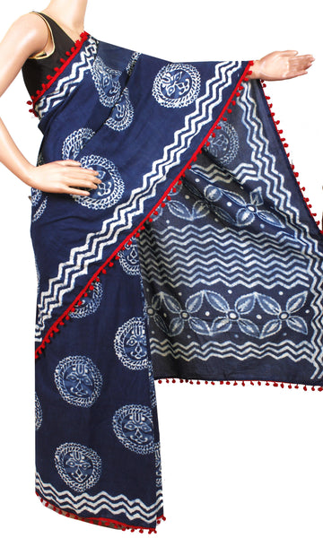 * New arrival * Kalamkari dyed saree with pom pom lace attached[Blue]  - cotton (49020B)