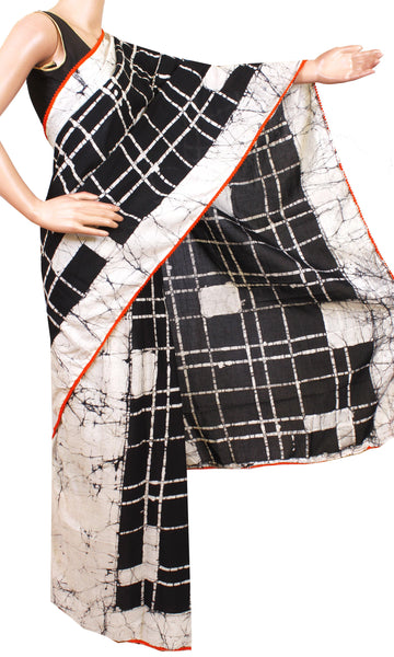 * New arrival * Kalamkari dyed saree with pom pom lace attached With Kalamkari blouse [Black]- cotton (49021B)