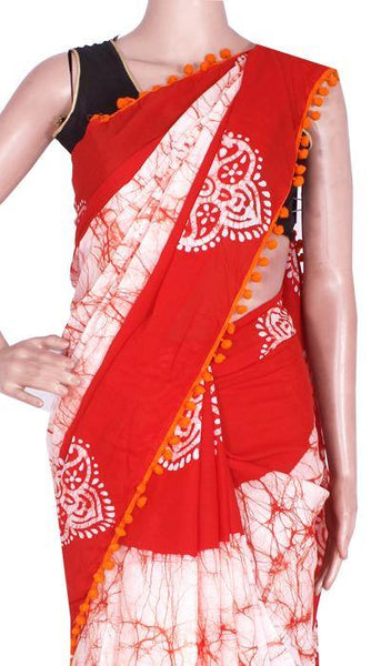 * New arrival * Kalamkari dyed saree with pom pom lace attached With Kalamkari Blouse - cotton (49022B)