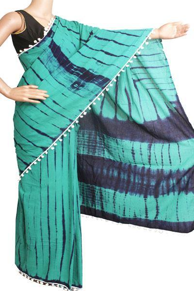 Batik Cotton Saree With Blouse Piece & Stitched Side Colorful Pompom Lace - cotton (49025B)  * New arrival *, Sarees - Swadeshi Boutique