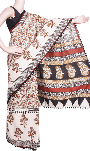 * New arrival * Kalamkari dyed saree with pom pom lace attached - cotton (49029A)