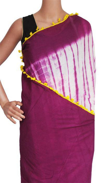 Batik Cotton Saree With Pompom Lace- cotton (49051A)  * New arrival *, Sarees - Swadeshi Boutique