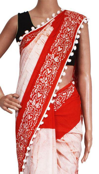 Batik Cotton Saree With Pompom Lace- cotton (49053A)  * New arrival *, Sarees - Swadeshi Boutique