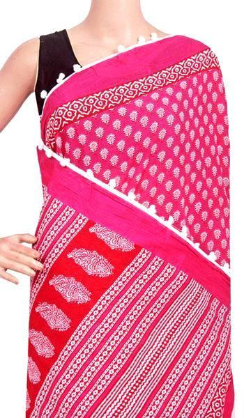 Batik saree with Flowers in Body & pom pom lace attached - cotton (49070A), Sarees - Swadeshi Boutique