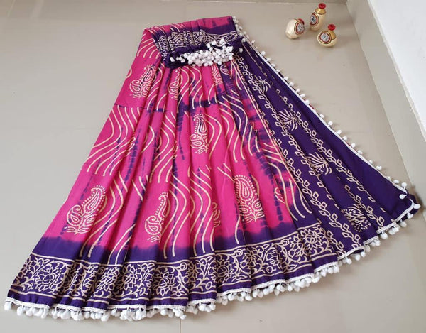 Batik saree with Flowers in Body & pom pom lace attached - cotton (49073A), Sarees - Swadeshi Boutique