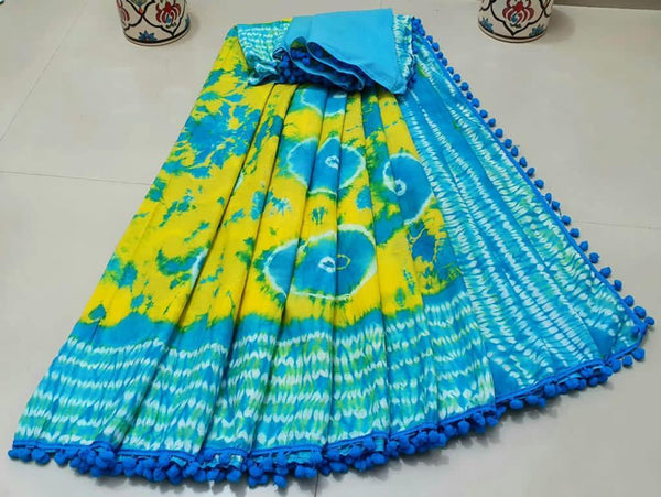 Batik saree with Flowers in Body & pom pom lace attached - cotton (49074A), Sarees - Swadeshi Boutique