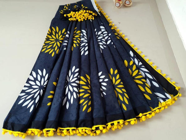 Batik saree with Flowers in Body & pom pom lace attached - cotton (49078A), Sarees - Swadeshi Boutique