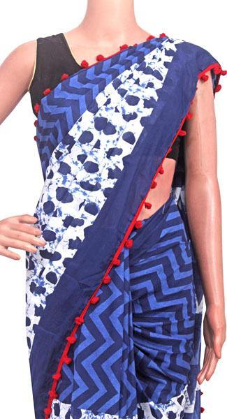 Batik saree with Flowers in Body & pom pom lace attached - cotton (49081A), Sarees - Swadeshi Boutique