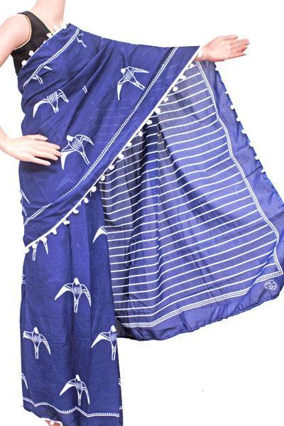 Batik saree with Flowers in Body & pom pom lace attached - cotton (49083A), Sarees - Swadeshi Boutique