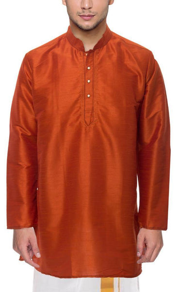 Traditional Raw Silk Kurta for men with beautiful embroidary  - 91005A, Kurta - Swadeshi Boutique