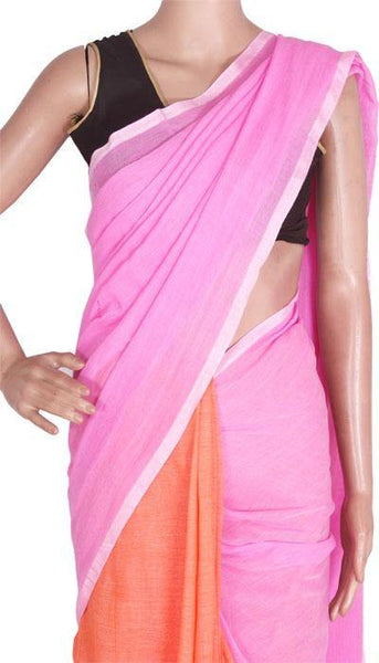 Khadi cotton plain saree with vibrant color - 50007A  * Rs.300 Off * - Swadeshi Boutique