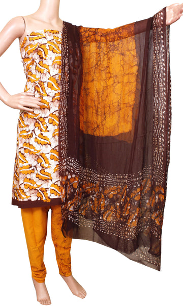 Cotton with Batik print (Bottom & Tops) + Shifon Dhuppatta - Chudi material (flower - Yellow) (3 piece set) - 52001A