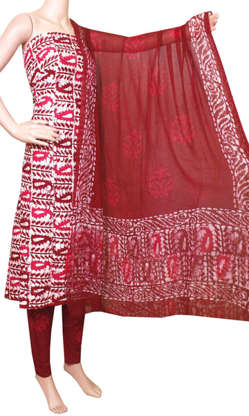 Cotton with Batik print (Bottom & Tops) + Shifon Dhuppatta - Salwar Set (3 piece material) - 52002A