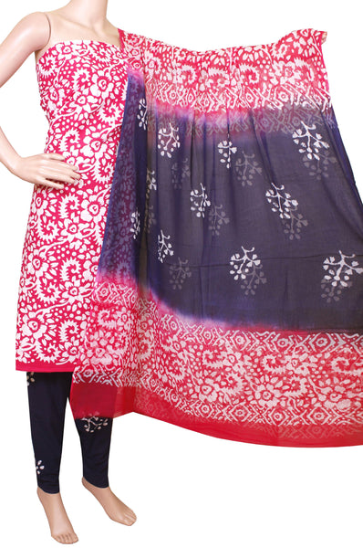 Cotton with Batik print (Bottom & Tops) + Shifon Dhuppatta - Chudi material (flower - Pink) (3 piece set) - 52004A