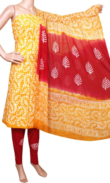 Cotton with Batik print (Bottom & Tops) + Shifon Dhuppatta - Salwar Set (3 piece material) - 52005A