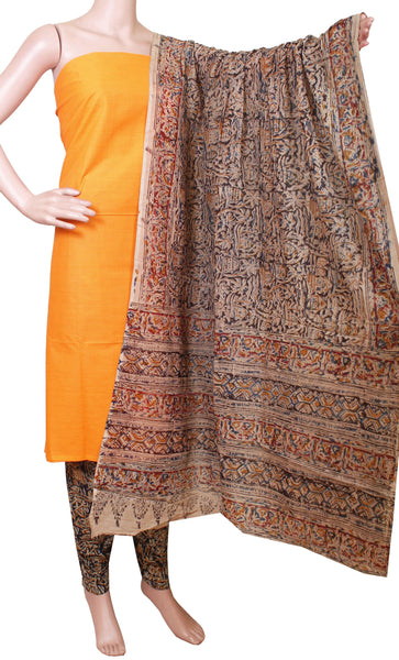 Kalamkari Cotton Chudi Set material - (Fanta) 52013A (3 Piece - Plain Tops, Kalamkari Bottom, Dhuppatta), Chudi - Swadeshi Boutique