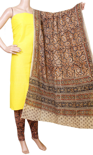 Kalamkari Cotton Chudi Set material - (Yellow) 52016A (3 Piece - Plain Tops, Kalamkari Bottom, Dhuppatta)