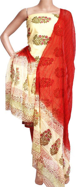Cotton with Batik print (Bottom & Tops) + Shifon Dhuppatta - Salwar (3 piece set) - 52026A, Chudi - Swadeshi Boutique