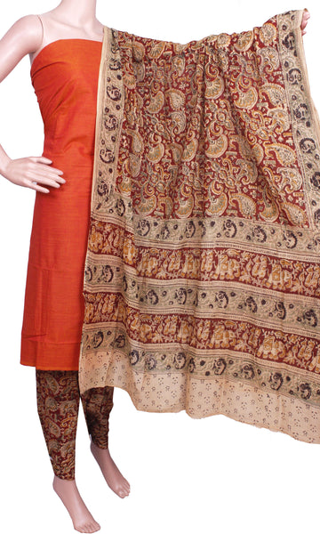 Kalamkari Cotton Salwar set material -  52101A (3 Piece - Plain Tops, Kalamkari Bottom, Dhuppatta), Chudi - Swadeshi Boutique