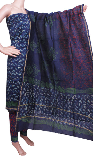 Chanderi silk with Batik print (Bottom & Tops) + Chanderi Dhuppatta - Salwar Set (3 piece material) - 52106A * New Rs.100 Off *, Chudi - Swadeshi Boutique