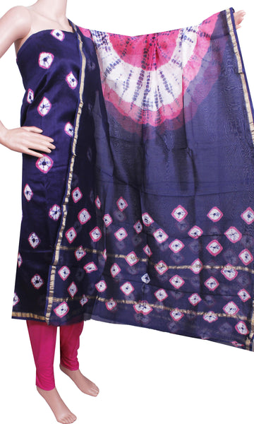 Chanderi silk with Batik print (Bottom & Tops) +Chanderi Dhuppatta - Salwar Set (3 piece material) - 52108A, Chudi - Swadeshi Boutique