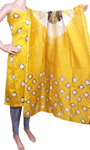 Chanderi silk with Batik print (Bottom & Tops) + Chanderi Dhuppatta - Salwar Set (3 piece material) - 52111A, Chudi - Swadeshi Boutique