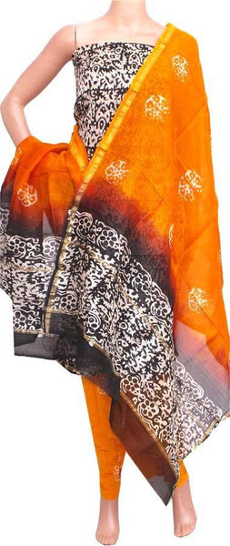 Chanderi silk with Batik print (Bottom & Tops) + Chanderi Dhuppatta - Salwar Set (3 piece material) - 52131A - Swadeshi Boutique