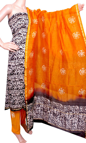 Chanderi silk with Batik print (Bottom & Tops) + Chanderi Dhuppatta - Salwar Set (3 piece material) - 52131A